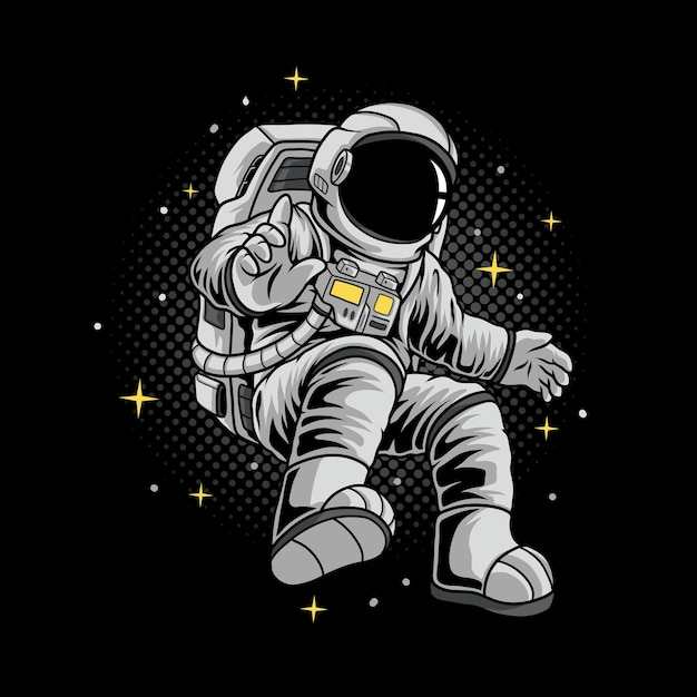 Flying astronaut illustration Premium Vector