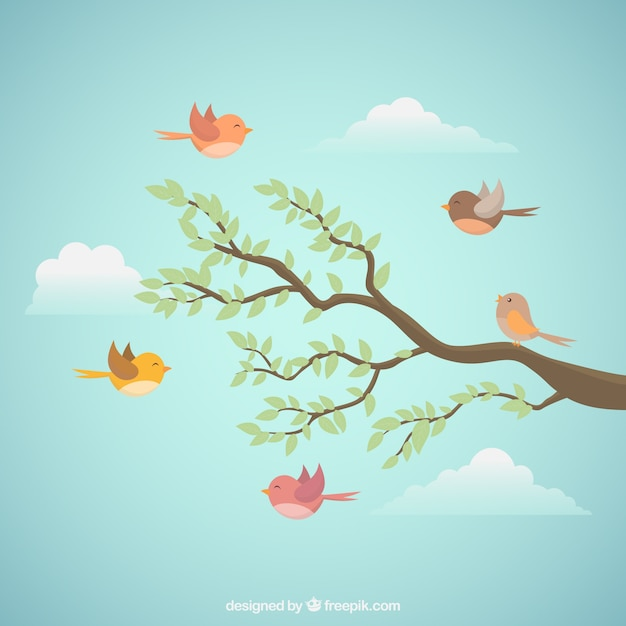 Flying bird background with branch Free Vector