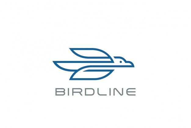 Flying bird logo     linear style Free Vector