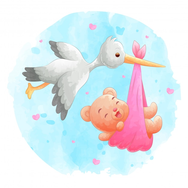 Flying birds bring baby bears with a watercolor background Premium Vector