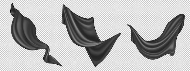 Летающая черная шелковая ткань на белом фоне. реалистичный комплект из развевающейся бархатной одежды, штор или шарфа на порывах ветра. роскошная черная текстильная драпировка, струящаяся атласная ткань Бесплатные векторы