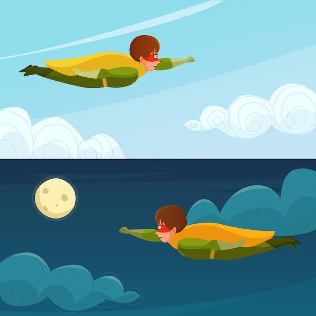 Flying boy superhero horizontal banners Free Vector