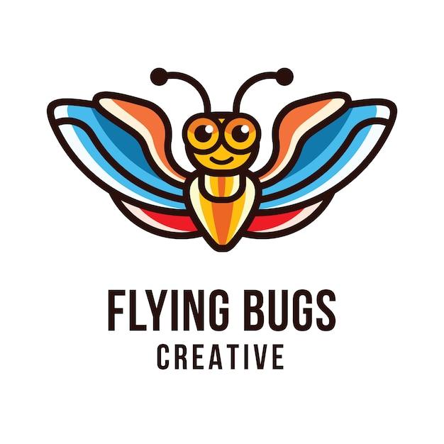 Шаблон логотипа flying bugs Premium векторы