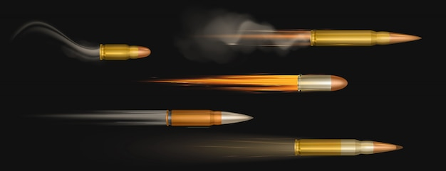 Flying bullets with fire and smoke traces. shooting military handgun shoot trails, gunshots in motion, weapon metal shots, ammo isolated Free Vector