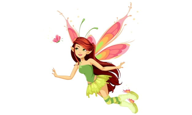Flying butterfly fairy Free Vector