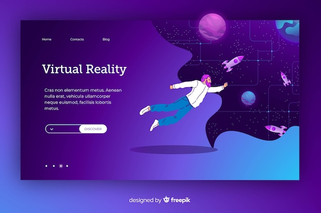 Flying cartoon in cosmos in a virtual reality Free Vector