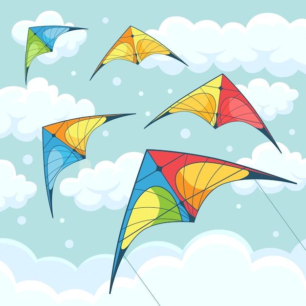 背景に雲が空にカラフルな凧を飛んでいます。カイトサーフィン。夏祭り、休日、休暇。カイトサーフィンのコンセプトです。図。漫画 Premiumベクター