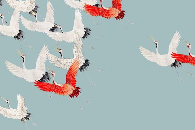 Flying cranes background Free Vector