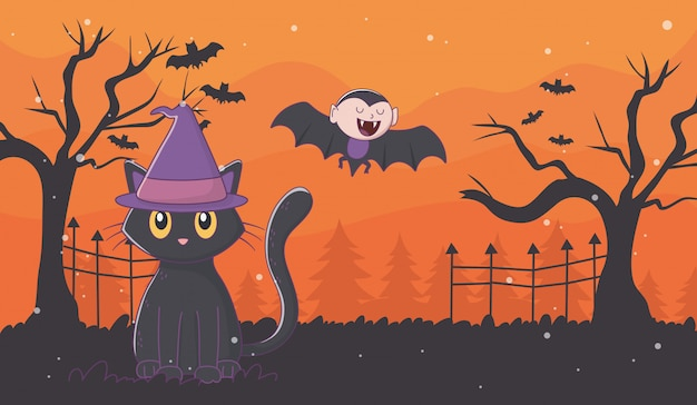 Flying dracula and cat with hat halloween Premium Vector
