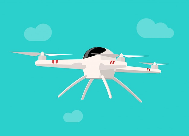 Flying drone isolated on blue sky background flat cartoon Premium Vector