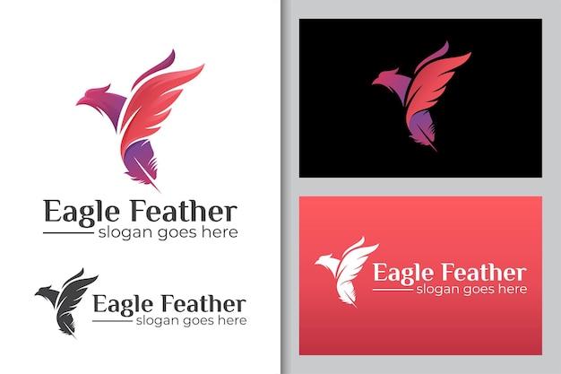 Летающий орел птица или феникс комбинированные перья чернила логотип значок иллюстрации Premium векторы