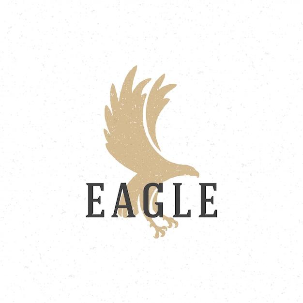 Flying eagle hand drawn logo emblem template Premium Vector