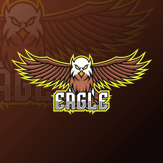 Flying eagle mascot gaming logo design template Premium Vector