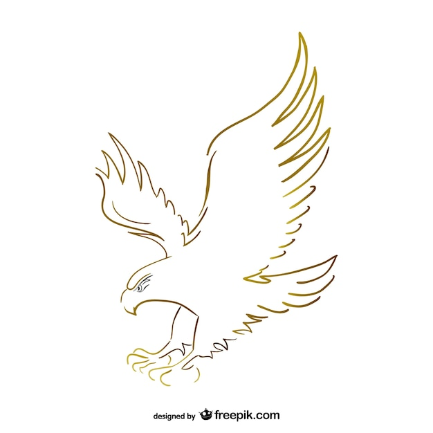Flying eagle sketch vector Premium Vector