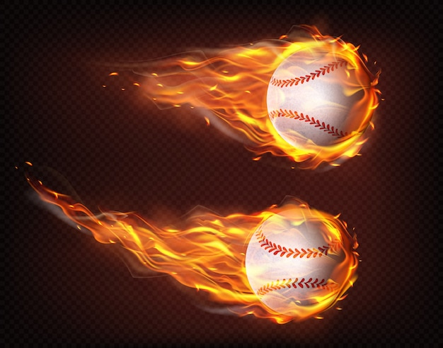 Flying in flames baseball balls realistic vector Free Vector