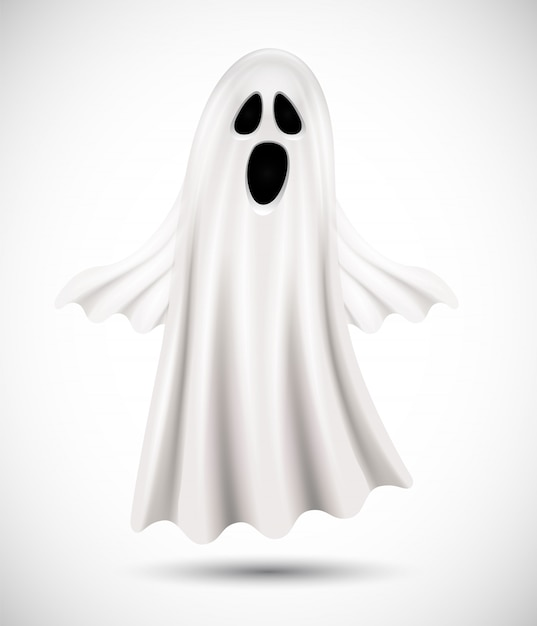 Flying ghost  on white background. suitable for halloween   background, poster, banner and flyer Premium Vector