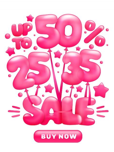 販売文字で光沢のあるピンクの風船を飛んで割引の概念。 Premiumベクター