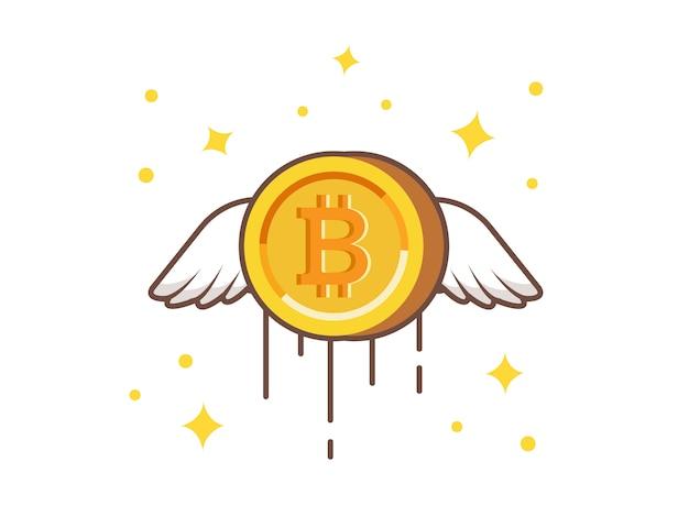 Flying gold bitcoin vector icon illustration Premium Vector