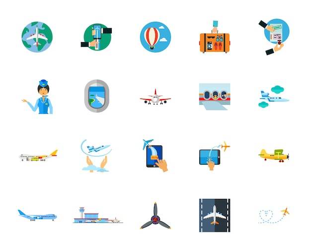 Flying icon set Free Vector