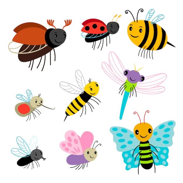 空飛ぶ昆虫コレクション-漫画の蜂、蝶、テントウムシ、白い背景の上のトンボ Premiumベクター