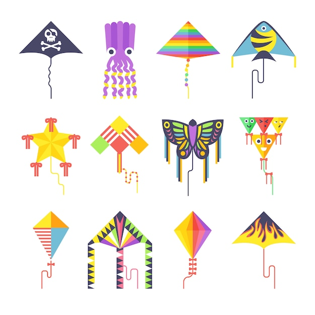 Flying kite vector collection isolated Premium Vector