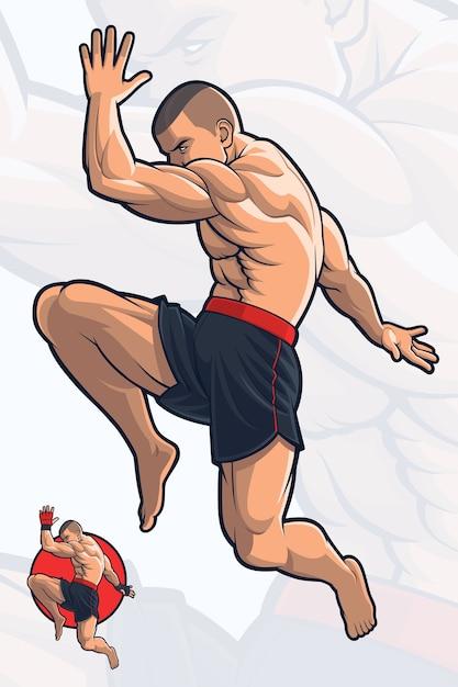 Flying knee kick kick boxing Premium Vector