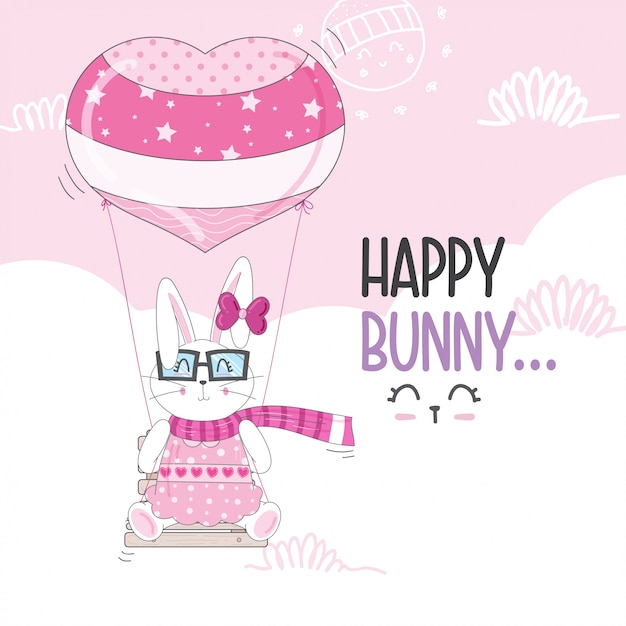 Flying little bunny with balloons Premium Vector