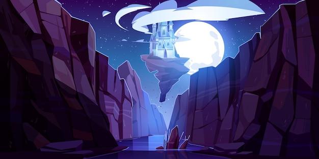 Летающий волшебный замок ночью, вид снизу вверх, сказочный дворец плывет в темном небе на скале над горным ущельем Бесплатные векторы