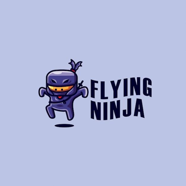 Flying ninja logo template Premium Vector