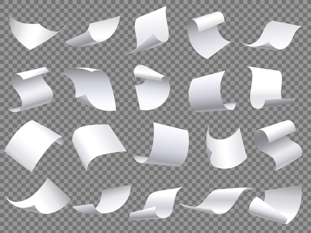 Flying paper pages, falling papers documents sheets, document with curved corner and fly page sheet isolated  objects set Premium Vector