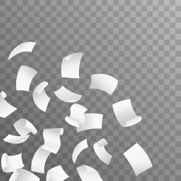 Flying paper sheets. isolated on transparent background.  realistic 3d detailed white blank empty flying papers. Premium Vector