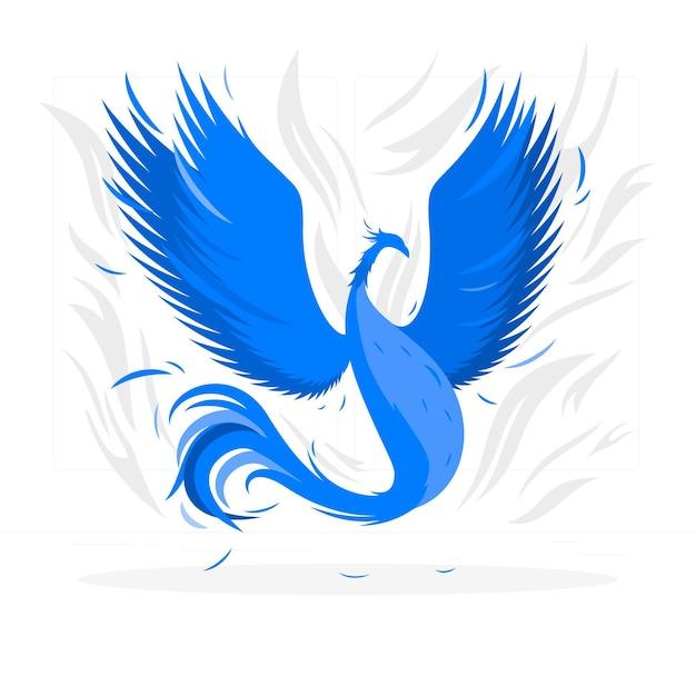 Летающий феникс концепции иллюстрации Бесплатные векторы
