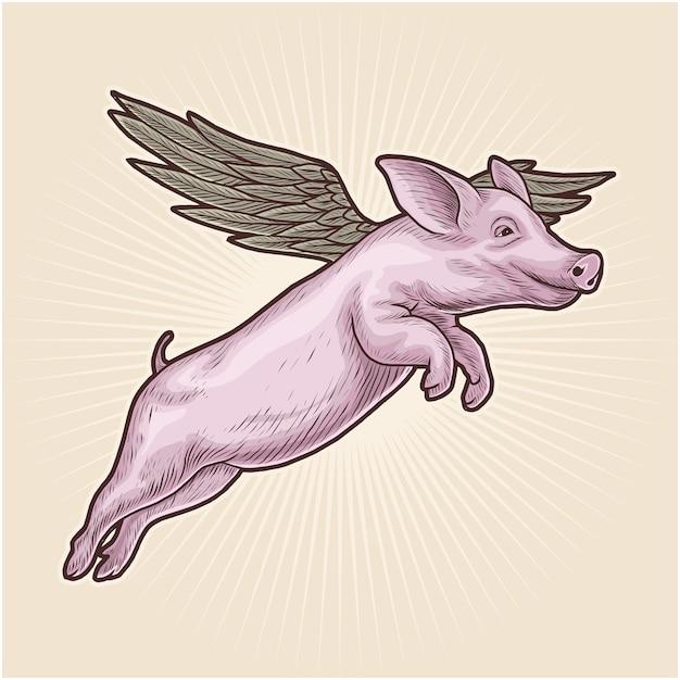 空飛ぶ豚手描きのベクトル図 Premiumベクター