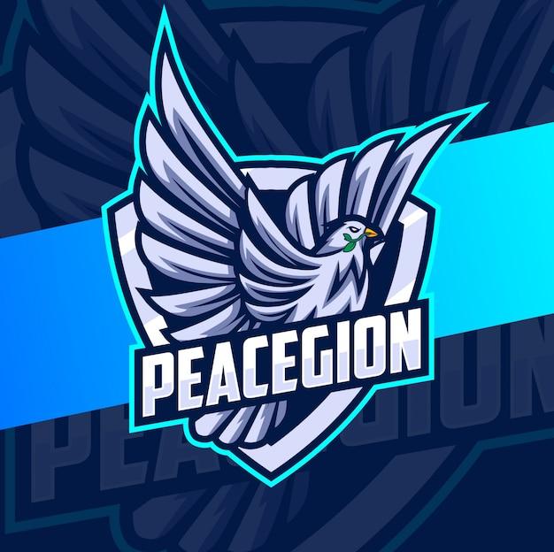 Flying pigeon mascot esport logo Premium Vector