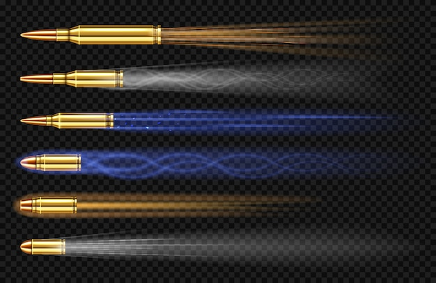 煙と火の痕跡と飛ぶピストル弾。銃のナメクジ、軍事拳銃射撃の軌跡、武器の金属ショット、透明な背景、現実的な3 dセットに分離された弾薬 無料ベクター