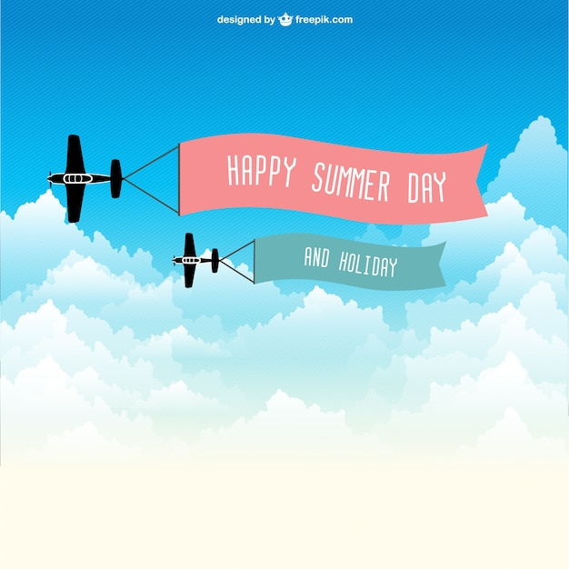 Flying ribbons with message in airplanes Free Vector