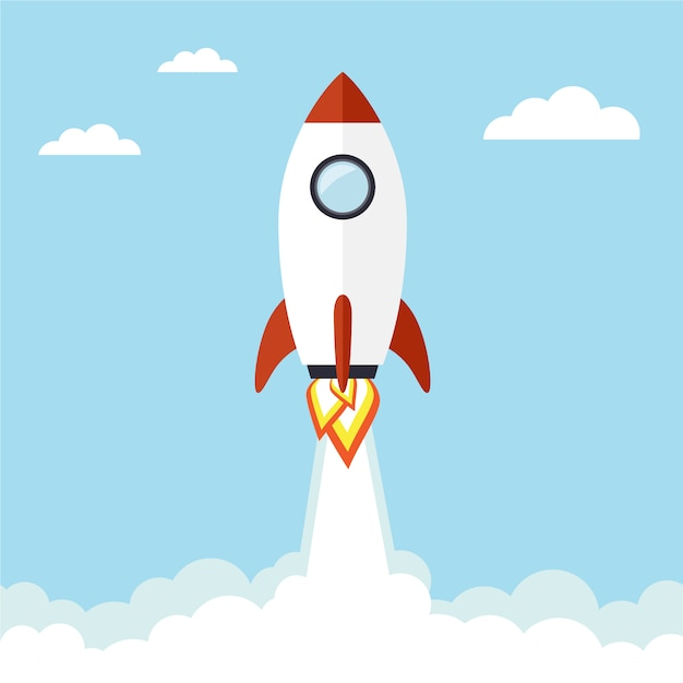 Flying rocket background Free Vector