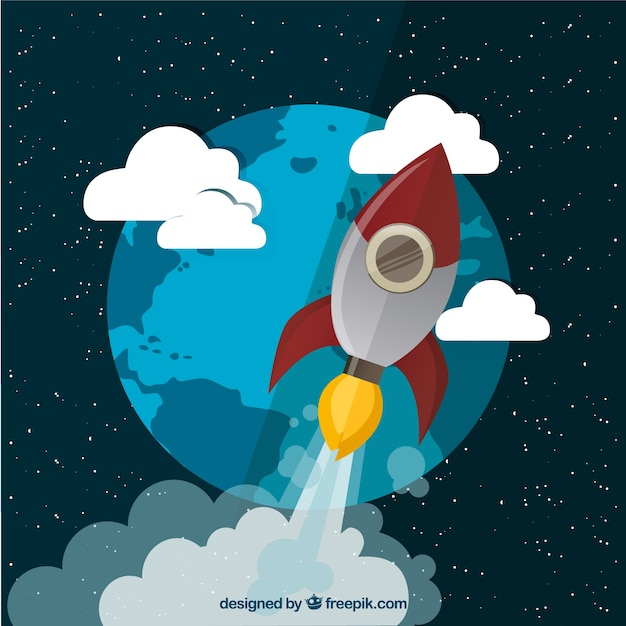 Flying rocket in space Free Vector