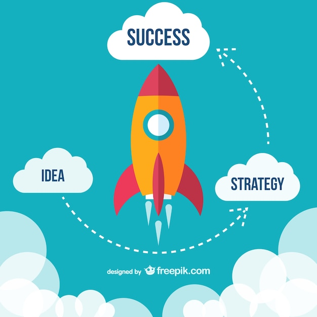 Flying rocket success diagram Free Vector