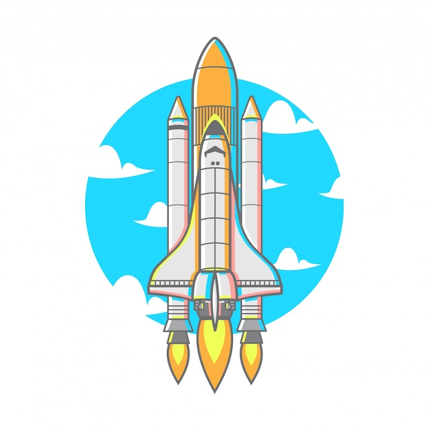 Flying rocket with booster fire Premium Vector