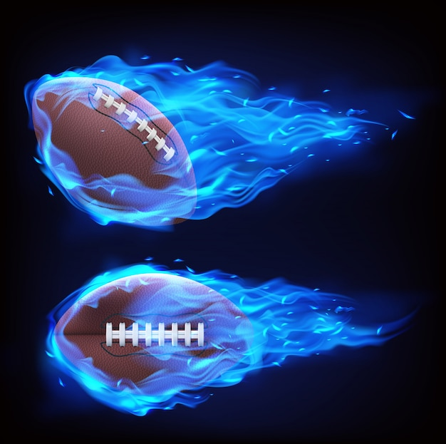 Flying rugby ball in blue fire Free Vector