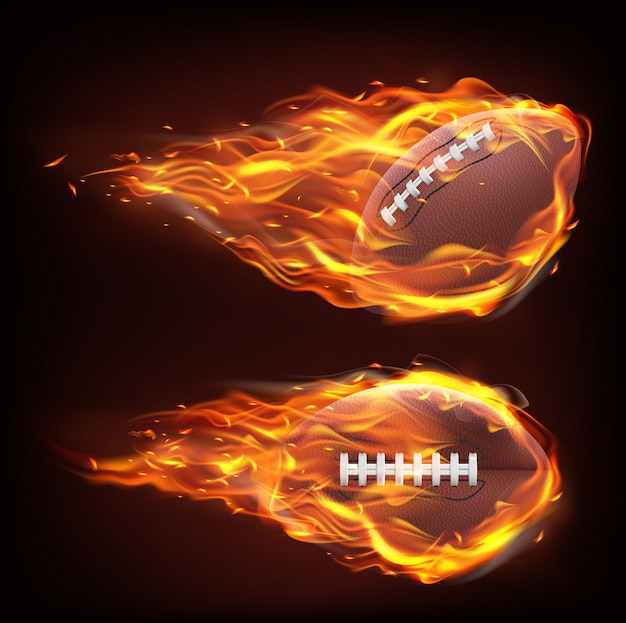 Flying rugby ball in fire Free Vector