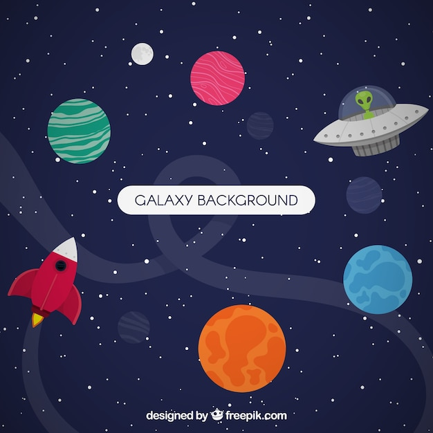Flying saucer background and colorful planets in flat design Free Vector