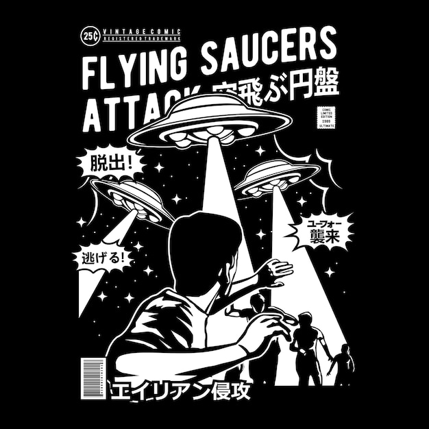 Flying saucers attack comic cover art Premium Vector