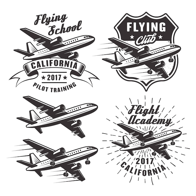 Flying school set of  emblems, labels and  elements with passenger airplane in monochrome   on white background Premium Vector