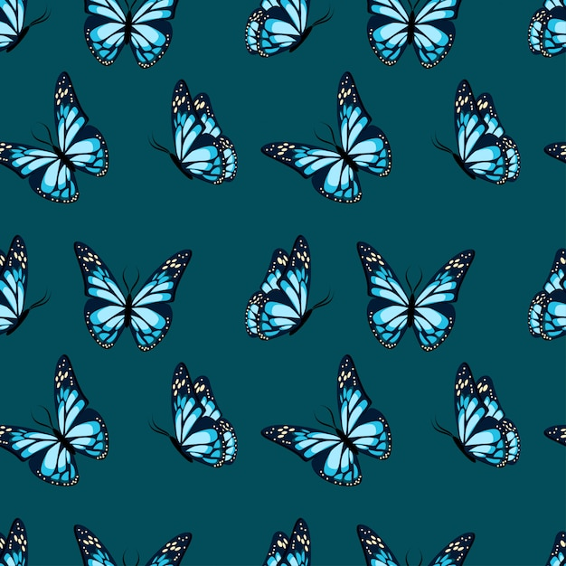 Flying and sitting butterflies Premium Vector