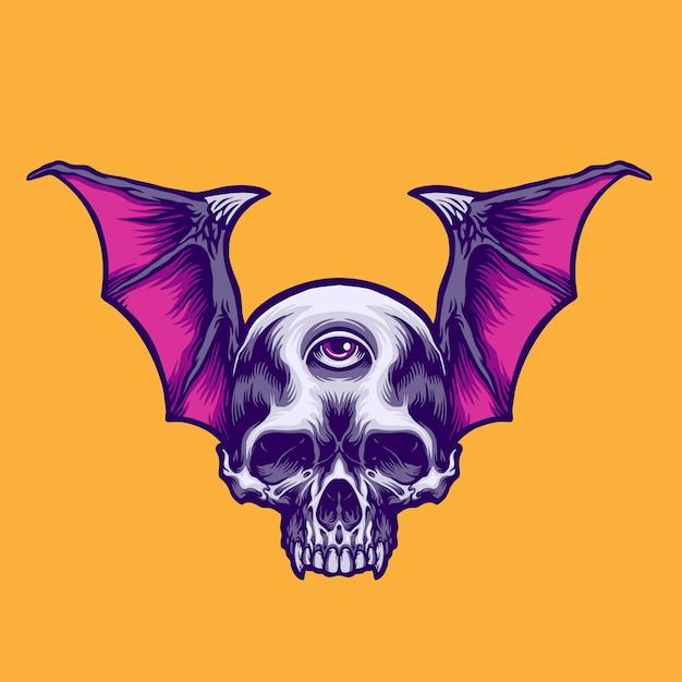 Flying skull illustration Premium Vector