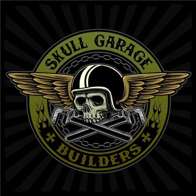 Летающий череп с гаечным ключом подходит для мотоклуба или гаражной службы логотип Premium векторы