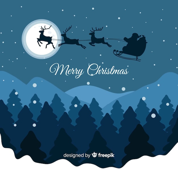 Flying sleigh christmas background Free Vector