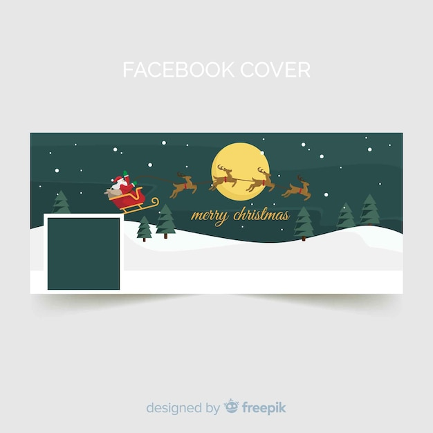 Flying sleigh christmas facebook cover Free Vector